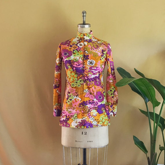 Vintage 1960s 1970s Psychedelic Floral Print Tunic