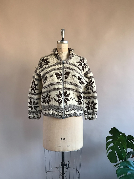 Vintage 1930s/40s Butterfly Cowichan Sweater - 30s