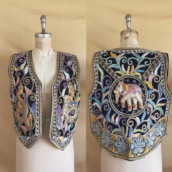 Vintage 1970s Embroidered Sequin Elephant Dragon V