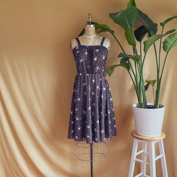 Vintage 1970s Black Rose Print Prairie Dress - 70s