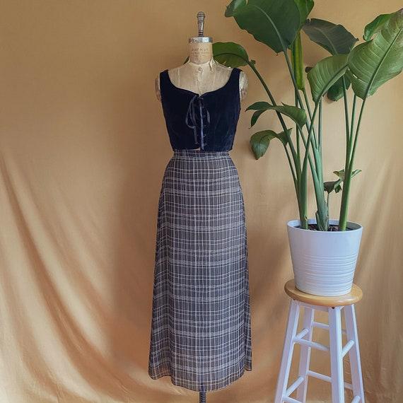 Vintage 1990s Black & White Sheer Plaid Maxi Skirt
