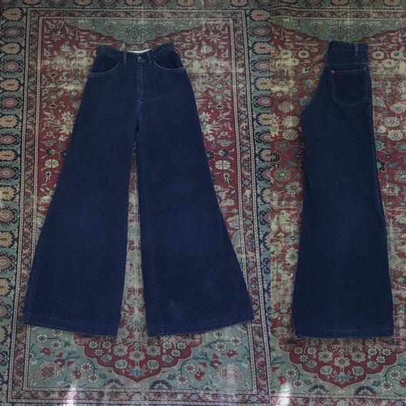 Vintage 1970s Navy Corduroy Wide Leg Bells - 70s M