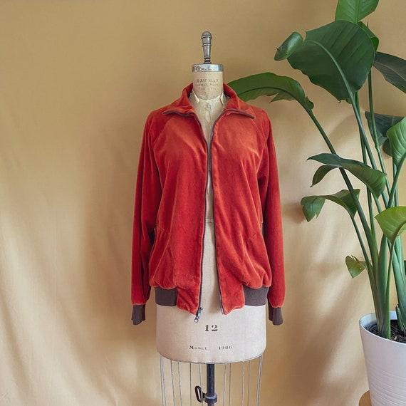 Vintage 1970s Rust Velour Zip Up Jacket - 70s Rus… - image 7