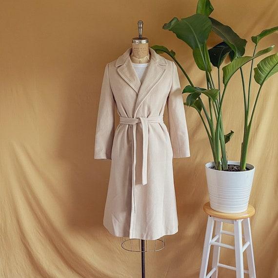 Vintage 1970s Light Beige Belted Cashmere Coat - 7
