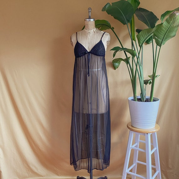 Vintage 1970s Sheer Black Empire Waist Slip Dress