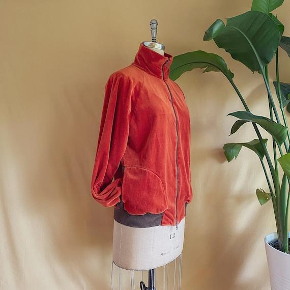 Vintage 1970s Rust Velour Zip Up Jacket - 70s Rus… - image 5
