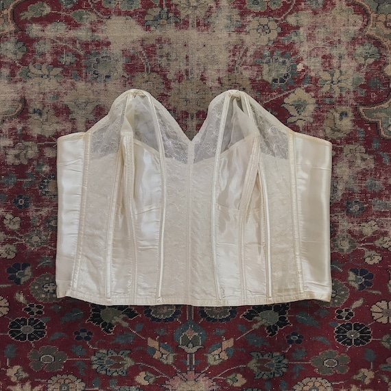 Vintage 1940s Cathedral White Satin & Lace Bustier