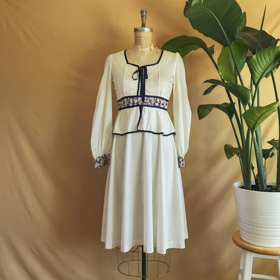 Vintage 1970s Balloon Sleeve Prairie Dress - 70s W