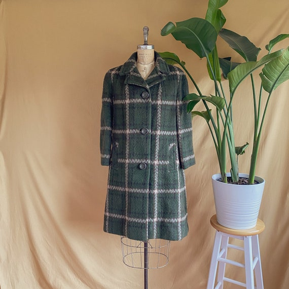 Vintage 1960s Green Plaid Mohair Coat - 60s Mohair