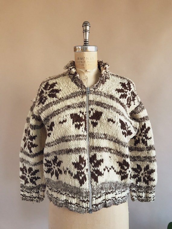 Vintage 1930s/40s Butterfly Cowichan Sweater - 30… - image 2