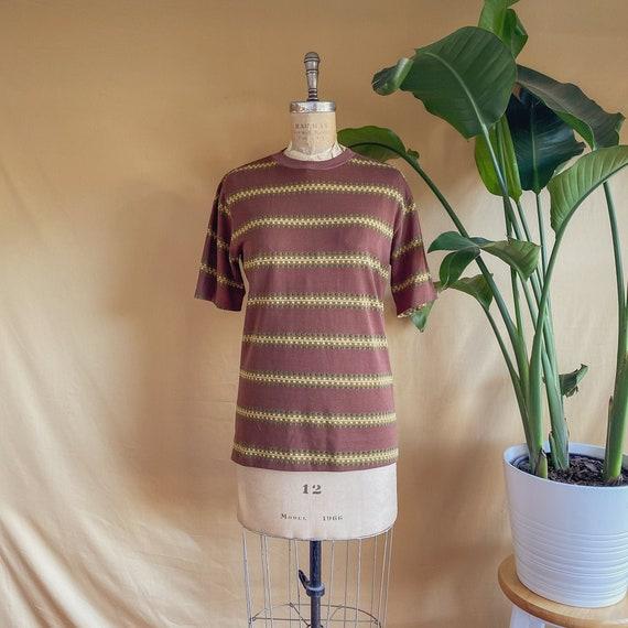 Vintage 1970s Jantzen Brown Striped T-Shirt - 70s