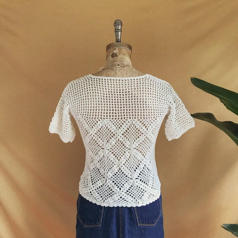 Vintage 1970s White Cotton Crochet Knit T-Shirt Sheer Knit Pullover Tee 70s White Crochet Knit Top Size SM Boho Crochet Knit Tee