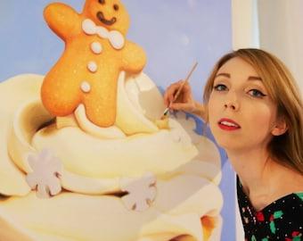 A3 Poster Print - Christmas Cupcake Painting