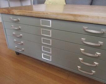 Quick View. Vintage Cole Steel Blueprint Cabinet ...