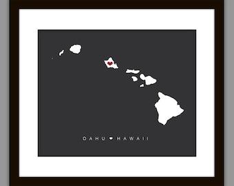 Printable Oahu Hawaii Wedding Map Print