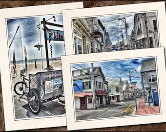 3 Provincetown Cards - Photo Note Cards Handmade Set - Provincetown Note Cards - 5x7 Cape Cod Note Card - Provincetown Greeting Card - (PR3)
