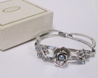 Vintage Coro Blue Rhinestone Bracelet, Signed Silver Tone Flower Bracelet, Original Box