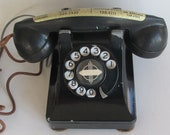 Vintage 1930s Western Electric Telephone, Black Bell Model 302 Base- F1 Handset, Antique Art Deco Rotary Desk Phone,WORKS, but does NOT Ring
