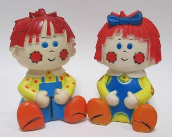 Vintage Raggedy Ann & Andy Squeak Toys, 1970s Taiwan Bobbs-Merrill Rubber Squeaker Squeeze Squeezy Dolls, Retro Nursery Decor