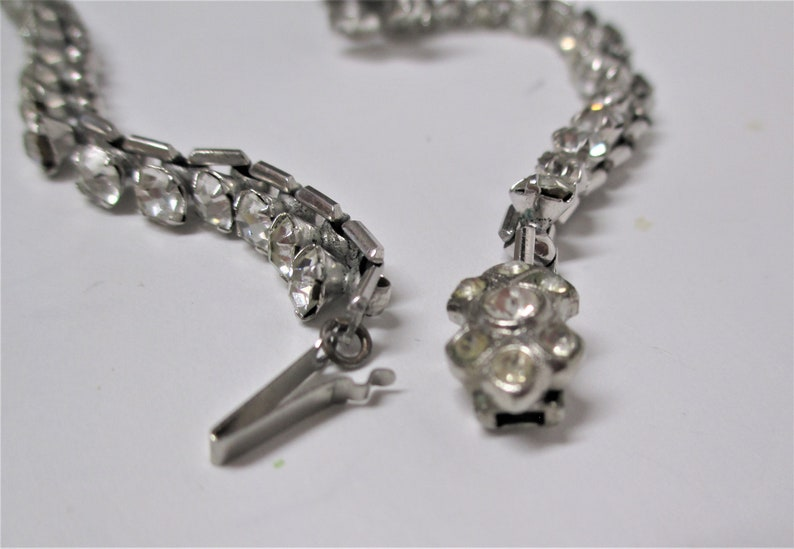 Vintage Czechoslovakia Rhinestone Necklace Czech Crystal Choker 14.5