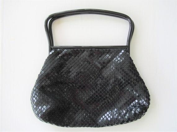 Vintage Black Lumured Tile Bead Handbag, 1960s Cor