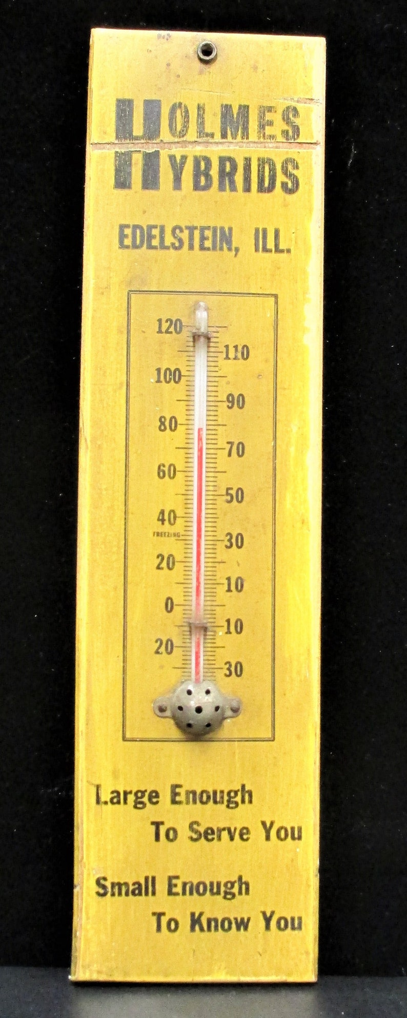 11.5 tall Vintage Holmes Hybrids Thermometer on Wood Illinois Seed Corn Advertising Farm Collectible Memorabilia