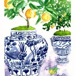 Citrus Trees and Blue Ginger Jars on a Light Lavender Table Cloth
