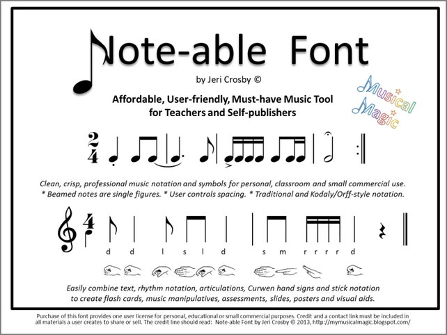 Note Able Font Easily Type Rhythm Notation Articulations Etsy