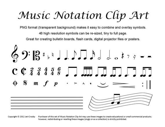 Music Notation Clip Art 48 Common Symbols Etsy