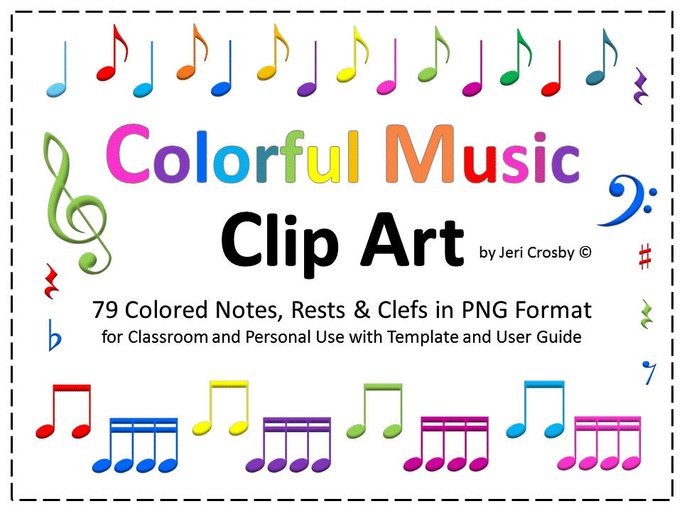 Colorful Music Notes Rests Symbols 79 High Resolution Etsy