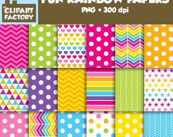 Clip Art: Fun Rainbow themed backgrounds - 18 Digital Papers