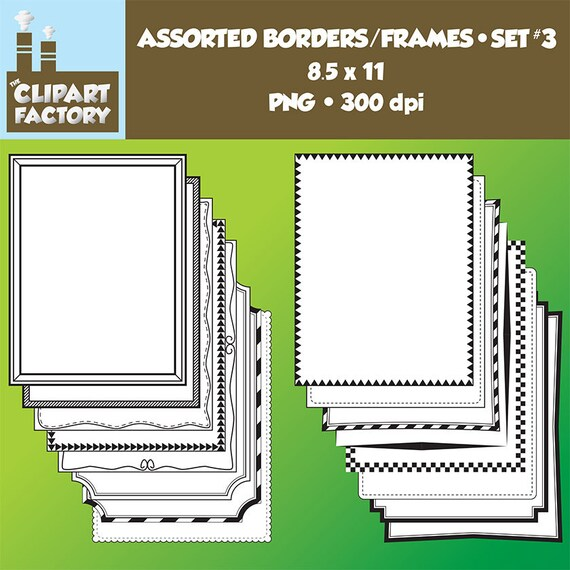 Clip Art: Borders and Frames-Set 3 16 Fun decorative page | Etsy