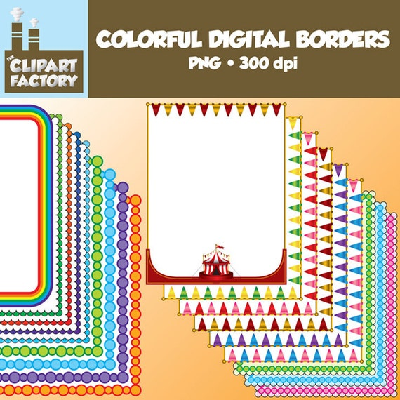 Clip Art Colorful Digital Page Borders , 18 Digital borders / backgrounds  / frames