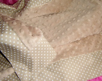 """Camel and White Polka Dot and Camel Minky Dot Baby Blanket 36""""x 36"""""""