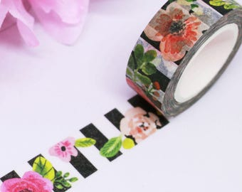 Floral Washi Tape, Pink Washi Tape, Black Washi Tape, Washi Tape Floral, Planner Accessories, Happy Planner, Bullet Journal, Washi Stickers