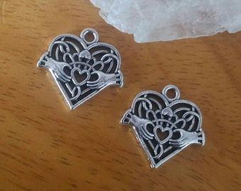 2 Silver Pewter Celtic Knot Claddagh Charms