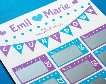 30 day wedding countdown calendar scratch off personalized