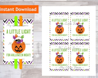 A Little Light For Halloween Night - Glow Stick Tags, Candy Alternative, Trunk or Treat, Class Gift, Glow Bracelet, Glow Necklace