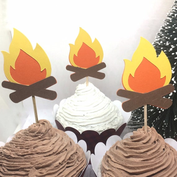 12 Camp Fire Cupcake Toppers Camping Theme Birthday Party Smores Food Picks Camp Party Decorations