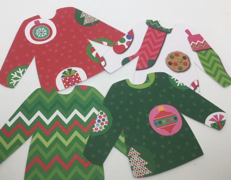 df2dfc5f72098b Ugly Christmas Sweater Party 4.5 Paper Die Cut Place