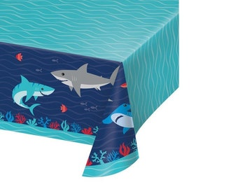Shark Birthday Party Table cover - Jawsome Tablecloth - Jaws Table decor