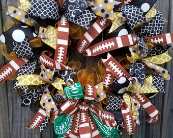 Black Yellow, Black Gold Gameday Wreath, Football Wreath, Customizable for Other Teams Wreath
