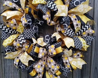 Initial Wreath, Black Yellow XXL Wreath, with add on Initial or Welcome Option  Ready to Ship