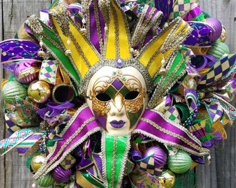 Sale Mardi Gras Jester Wreath Ready to Ship, Front Door Decor, regal. 120.00 now 89.99