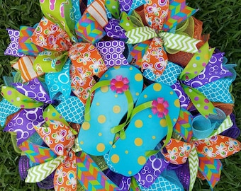 Flip Flop Wreath, Ready to Ship, Summer Wreath, Spring Wreath , Orange Torqoiuse Purple Wreath l, Front Door Decor Butterfly Ribbon