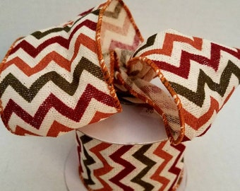 Brown, Green, Rust 2.5 Cotton Polyester Ribbon, 5 Yard Increments, Minimum Order 15.00, Free Shipping