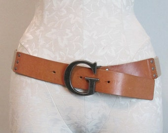 """Cotton Web Belt with """"G"""" Buckle and Leather Front"""