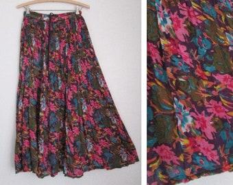62ffb712f33 Boho Hippie Cotton Gauze Floral Print Drawstring Festival Skirt Made in  India Medium