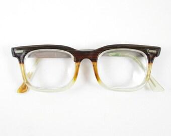 91ee449e7c Vintage Eye Glasses Art Craft Mens Frames Eyewear Mid Century Wood Grain  Look Rhodium Plated