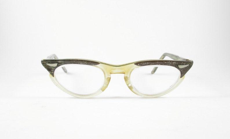 5a85a3e6082 Glitter Cat Eye Glasses Frames Vintage Eyewear Mid Century